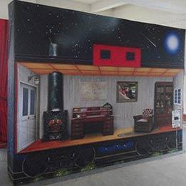 Caboose Train Car Backdrop