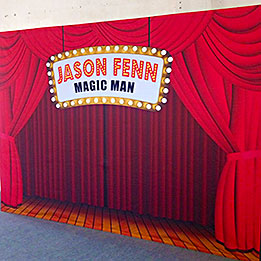 "Custom Name In Lights On Our ""Red Theater Curtain"" Design"