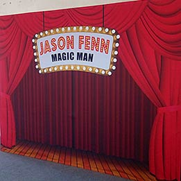 """Custom Name In Lights On Our """"Red Theater Curtain"""" Design"""