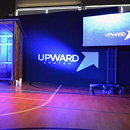 Mobile Church Backdrop Set Up For Christmas Service